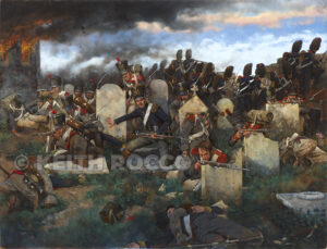 Features a new painting of the Guard fighting in the cemetery at Placenoit. Click to enlarge.
